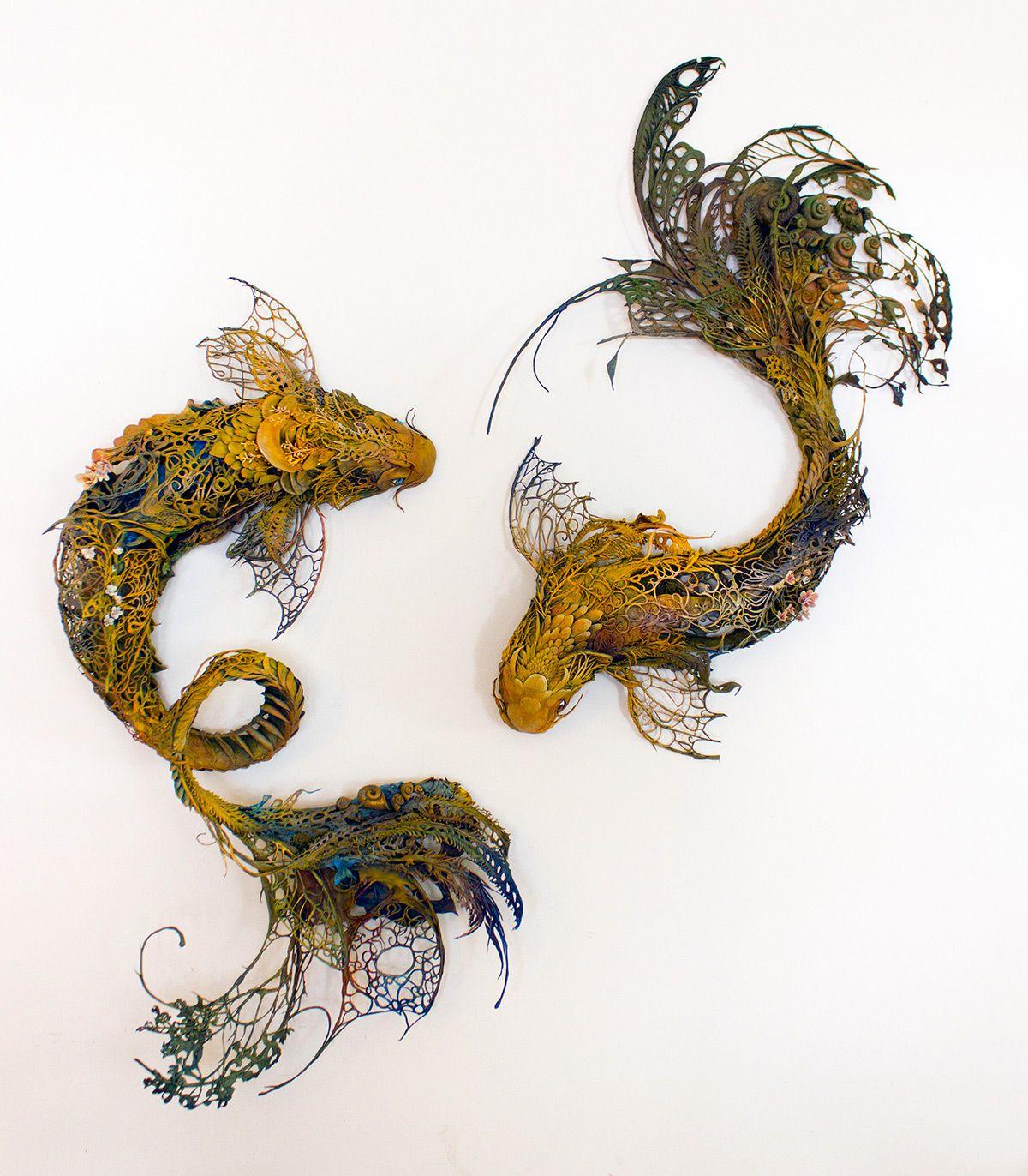 recreacion de peces hechos con plantas