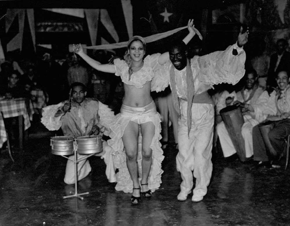 A view of people dancing at a Cuban club