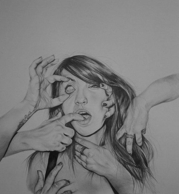 hannahscott cuadro de chica con 4 manos