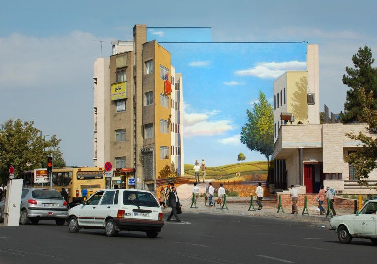 mehdi ghadyanloo street art optical illusion 13