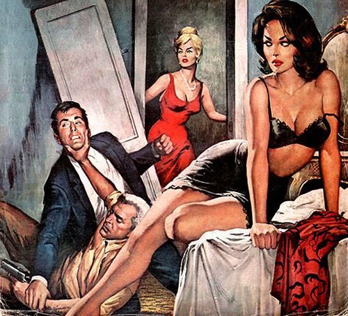 Ilustración de desenlace fatal de un ataque de celos dibujado por Charles Copeland