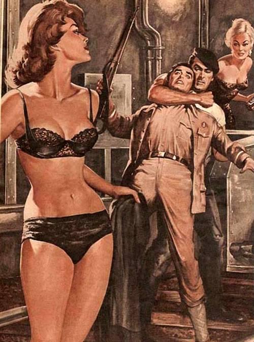 Dibujo de una pelea de dons hombres por una mujer con estetica pulp