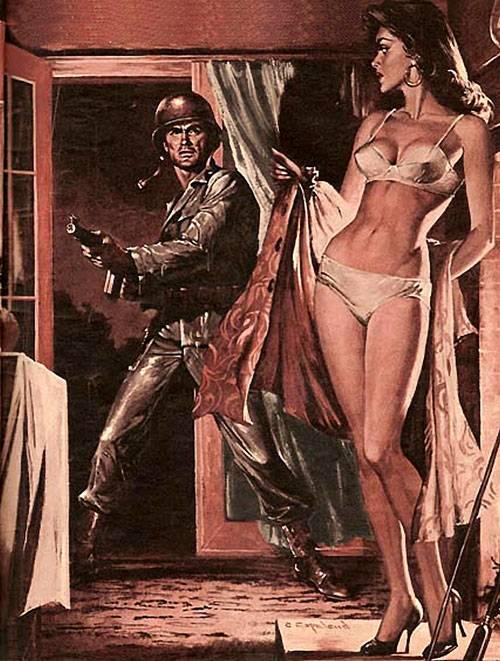 dubujo de un militar entrando a una habitación de una mujer en ropa interior hecha por Charles Copeland