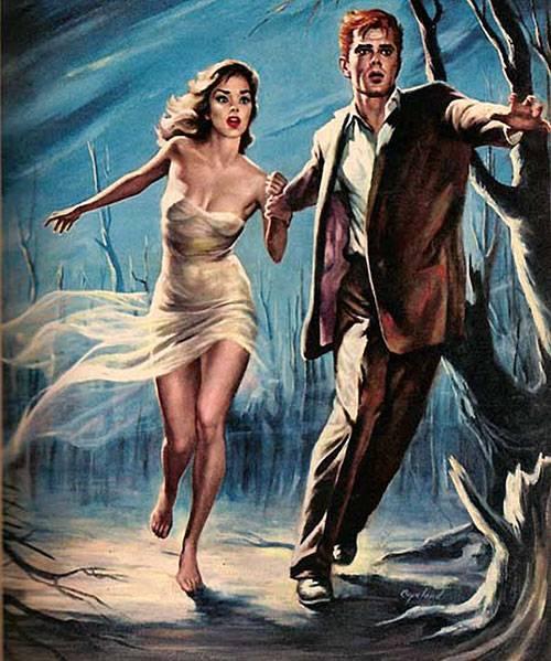 ilustración de pareja corriendo con estilo pulp