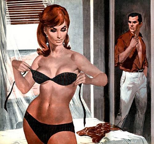 ilustración de una mujer vistiendose