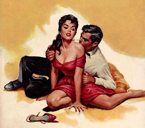 Ilustración de un hmobre seduciendo a una mujer con un beso en el hombro hecha por Charles Copeland