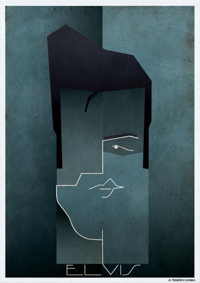 elvis presley cubist illustration