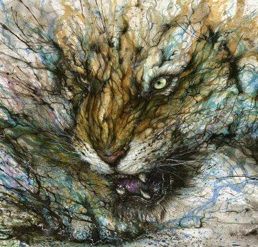 Cuadro de un tigra pintado al oleo por hua tunan