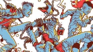 ilustracioen de gerhard human de chicos callejeros saltando