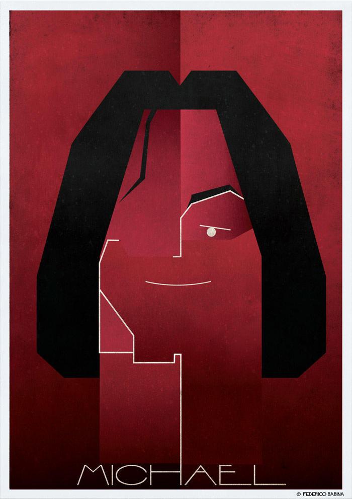 michael jackson cubist illustration