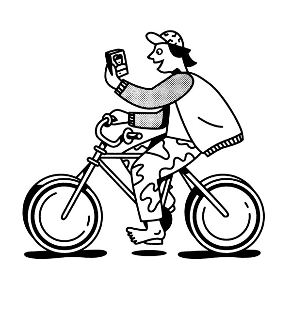 ilustracion minimalista de chico en bici por delorenzo
