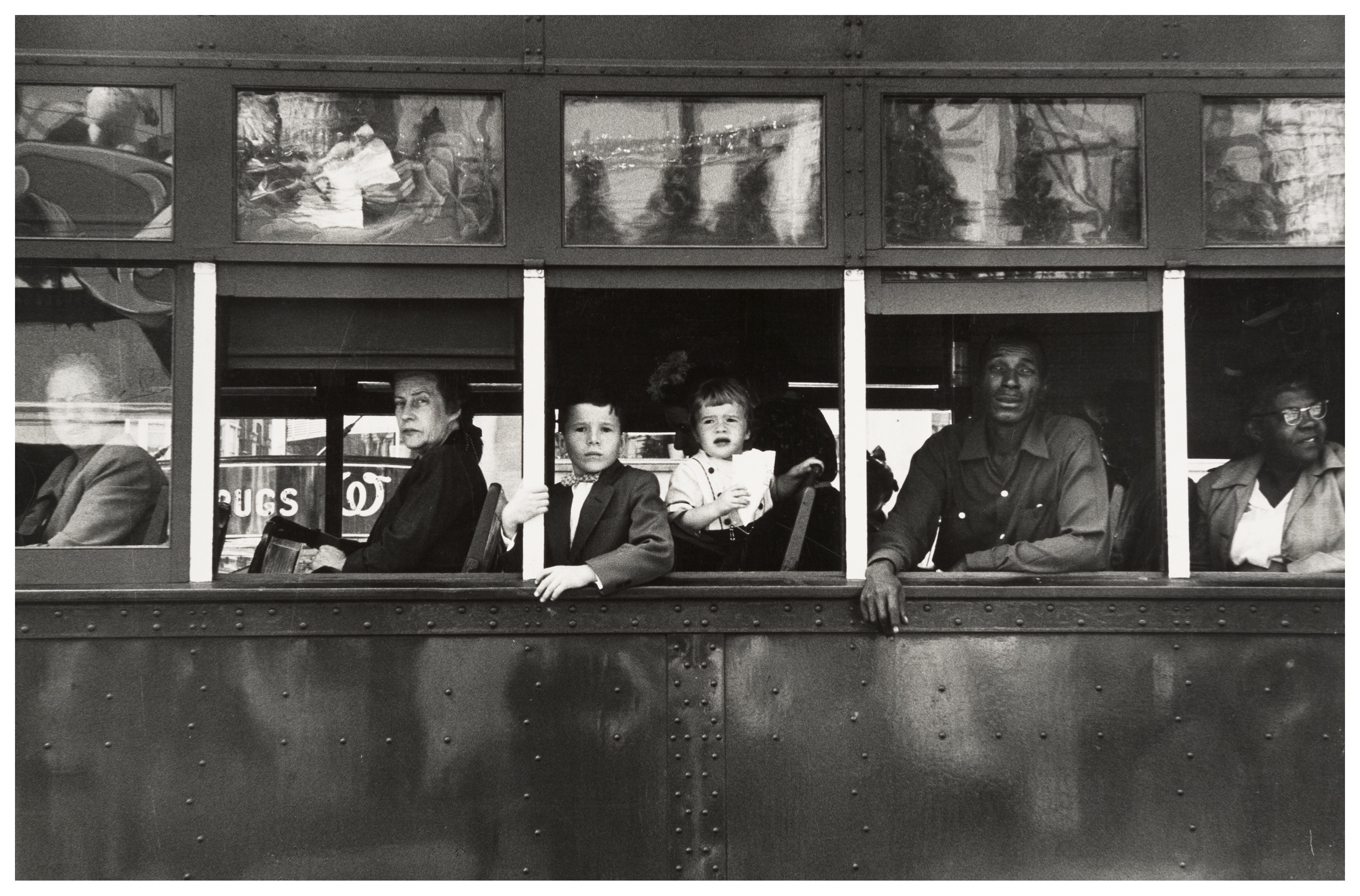 RobertFrank-fotografia, autobus lleno de inmigrantes