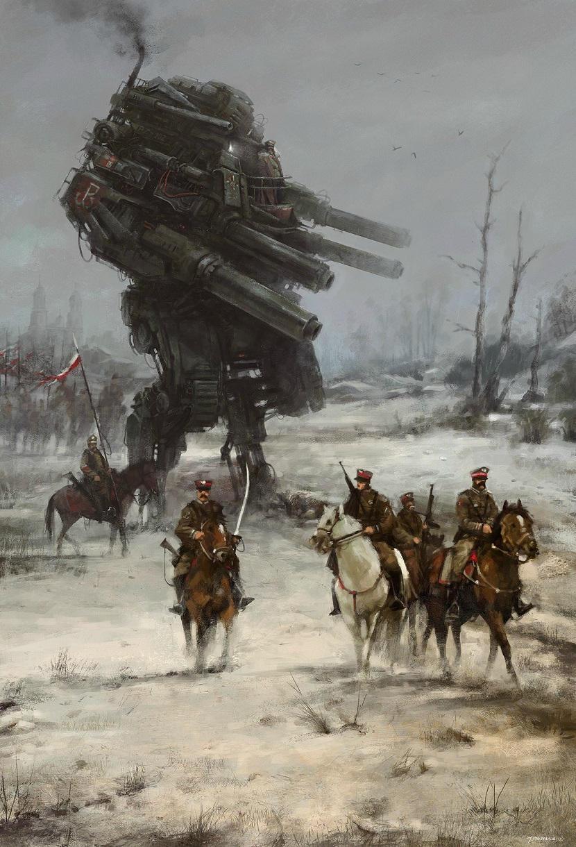 jakub-ralski-pintura de soldados polacos y un robot gigante detrás