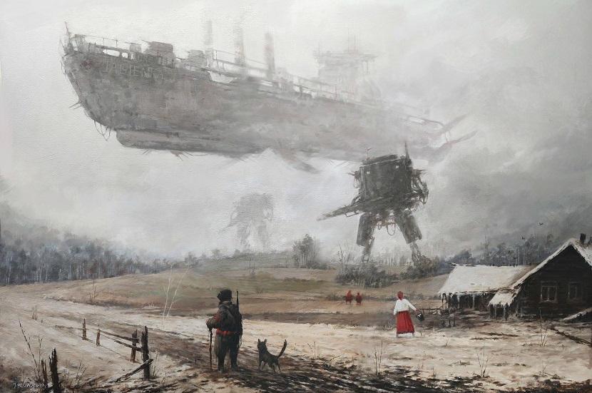 jakub-ralski-pintura que mezcla la guerra en polonia y robots futuristas