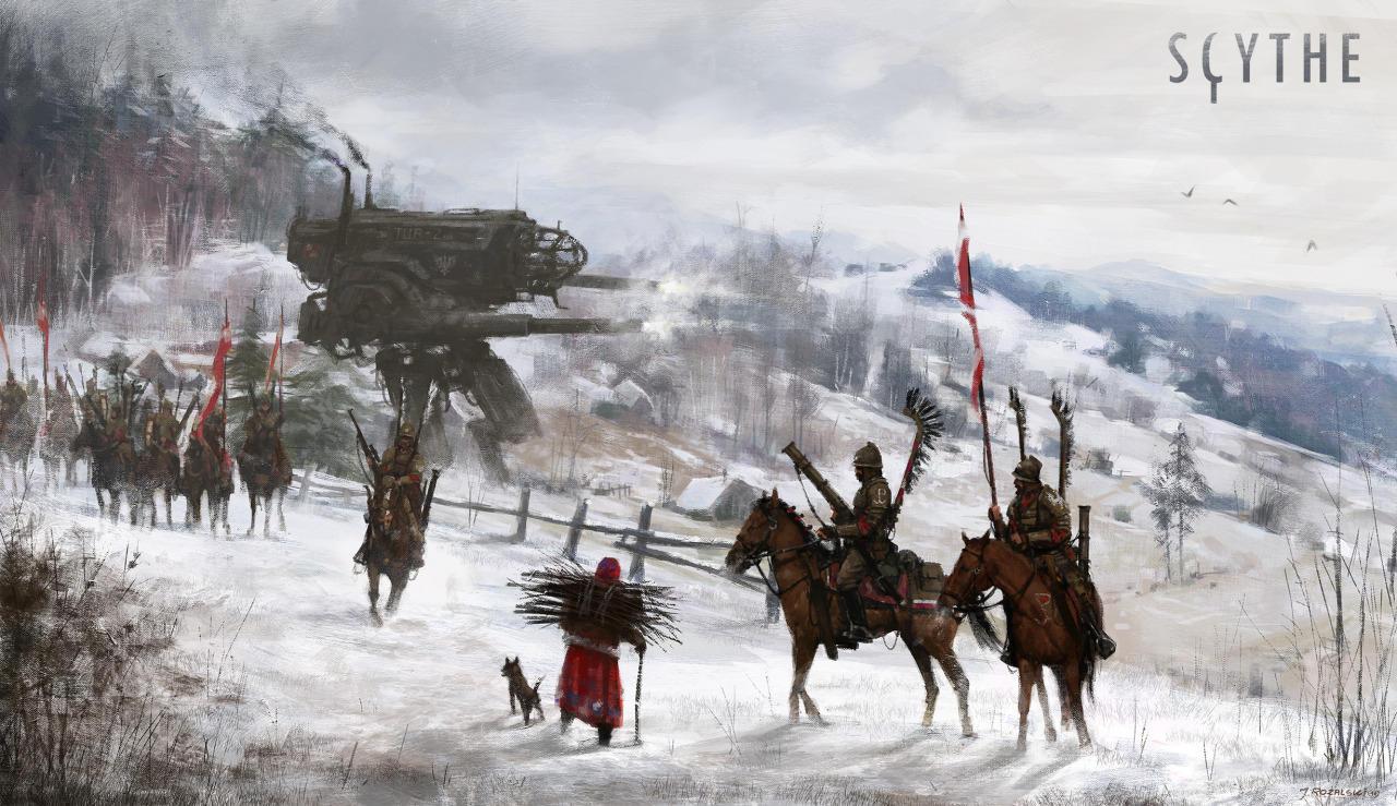 jakub-ralski-soldados en la nieve con robotz al fondo
