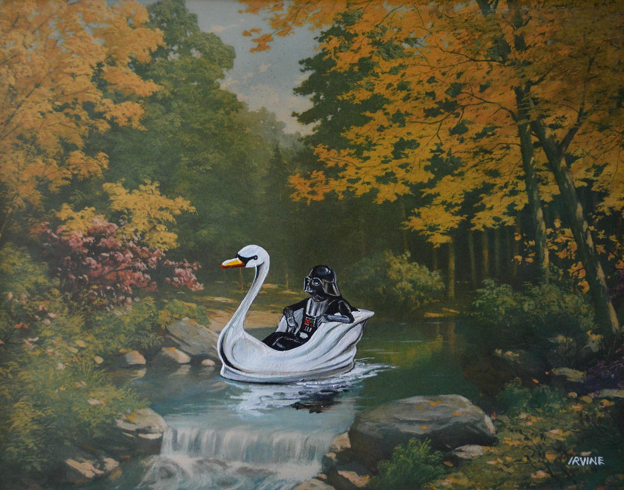 pintura de darth vader en un lago