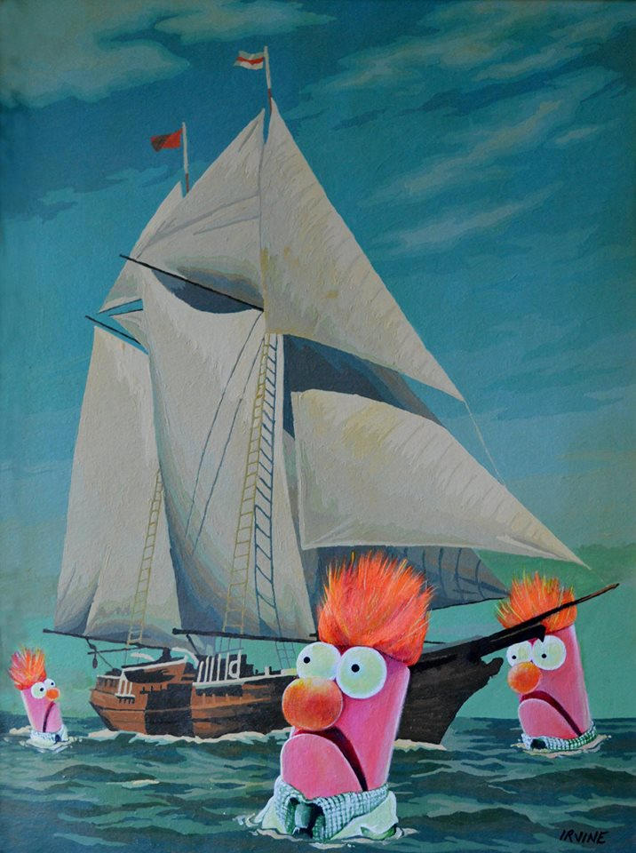 Pintura de un barco con epi y blas