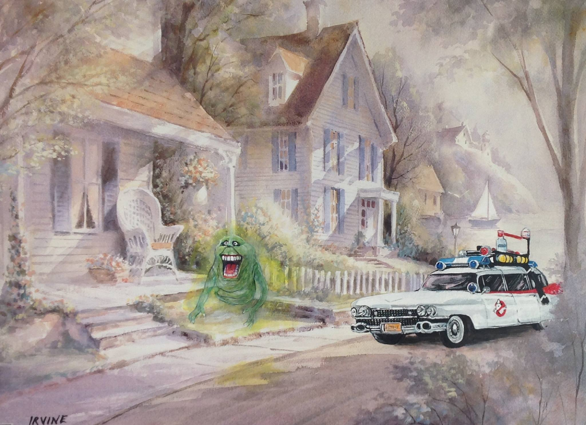 Pintura con coche de los caza fantasmas