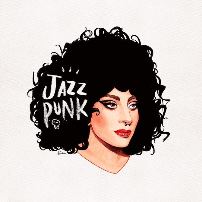 Italian-curls-JazzPunk-hele green illustration
