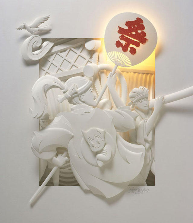 Jeff Nishinaka paper art sculpture oldskull 5