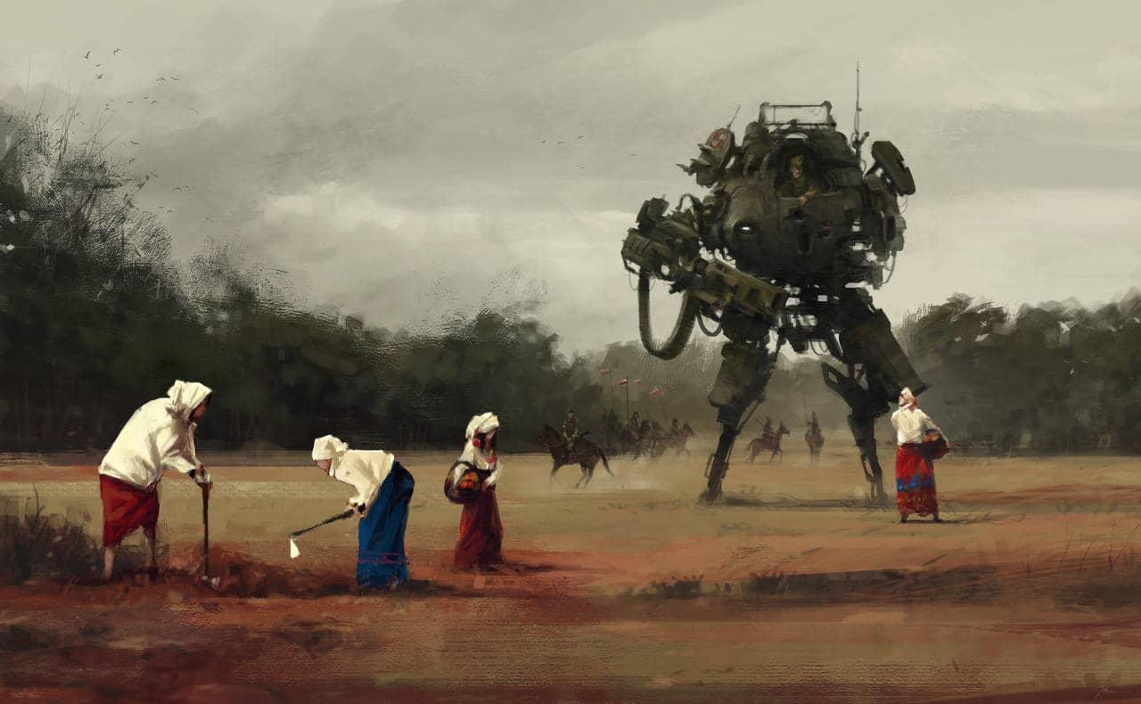 Pintura sobre la guerra polaca mezclada con robots