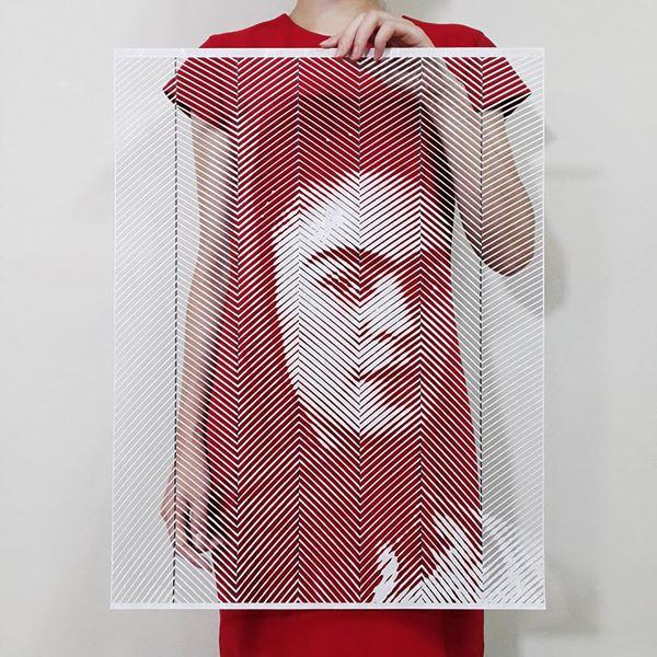 Frida kalho hecha con papel cortado