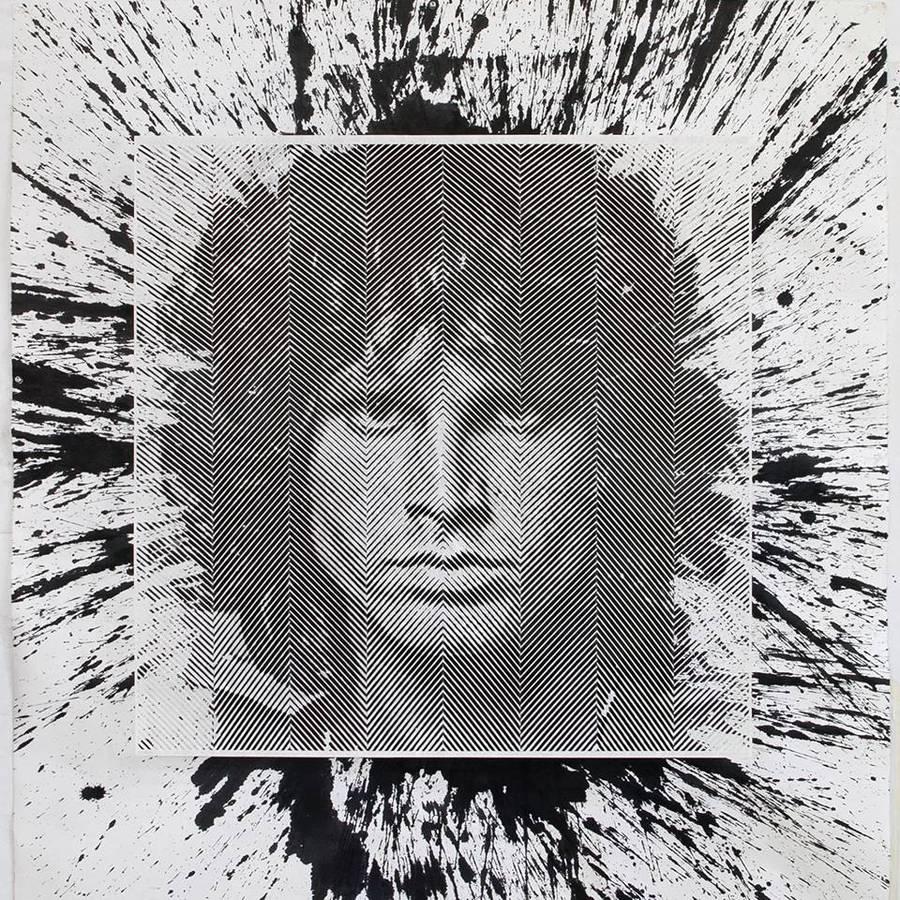 retrato de van morrison en papel cortado