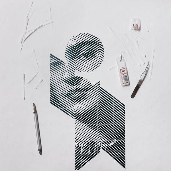 proceso de creacion de retrato en papel cortado