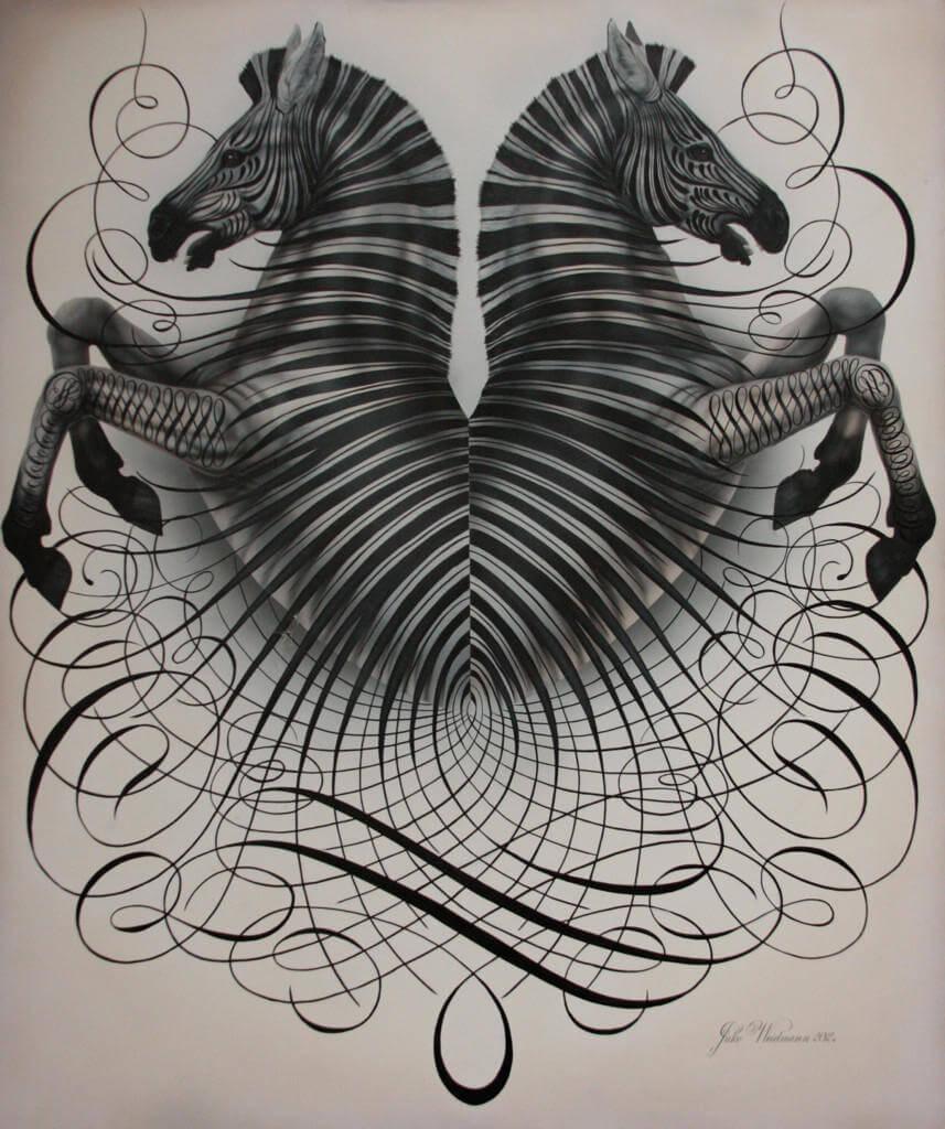Caligrafia creativa para crear un dibujo de dos cebras