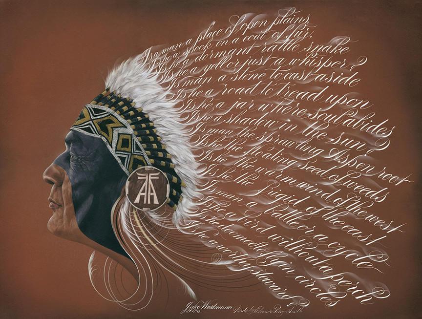 Indio hecho con textos y caligrafia