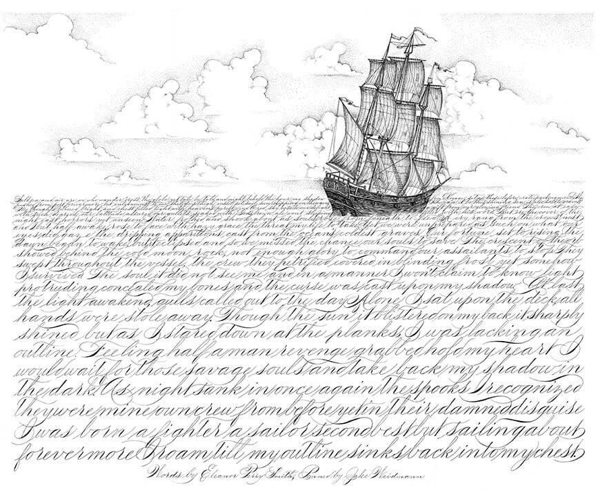 Dibujo de un oceano con un barco a base de caligrafia por jake weidmann pen 5