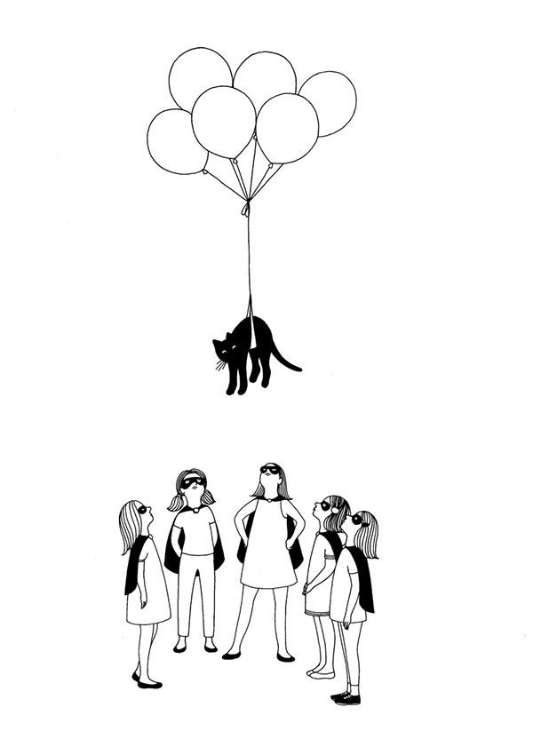 dibujo ilustracion mrzyk moriceau de un gato con un globo