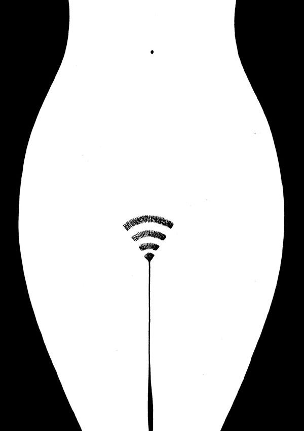 Dibujo de mrzyk moriceau en blanco y negro de red wifi