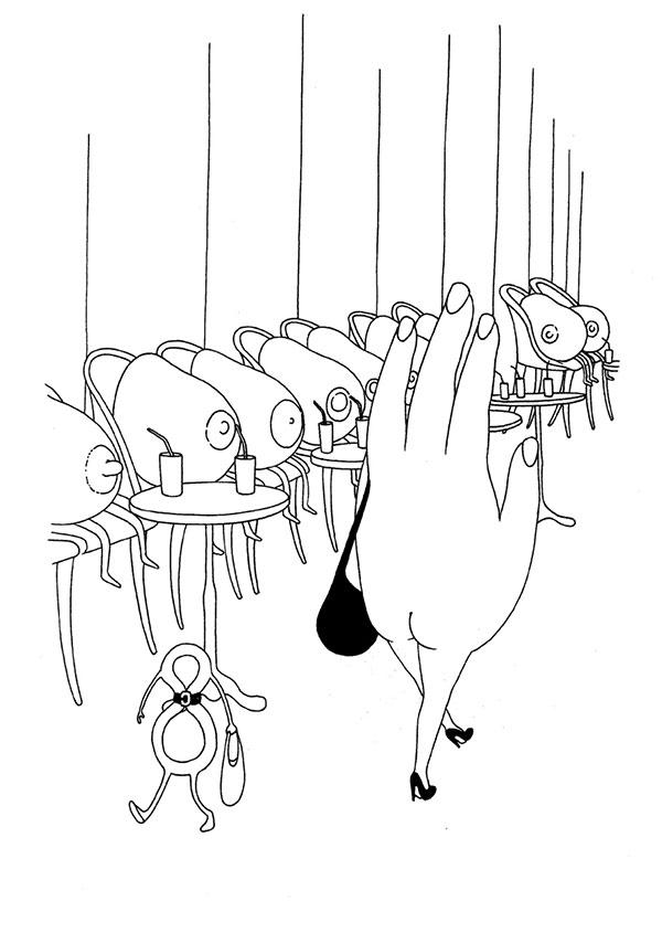 ilustración de humor de mrzyk moriceau de mano pasando por un desfile
