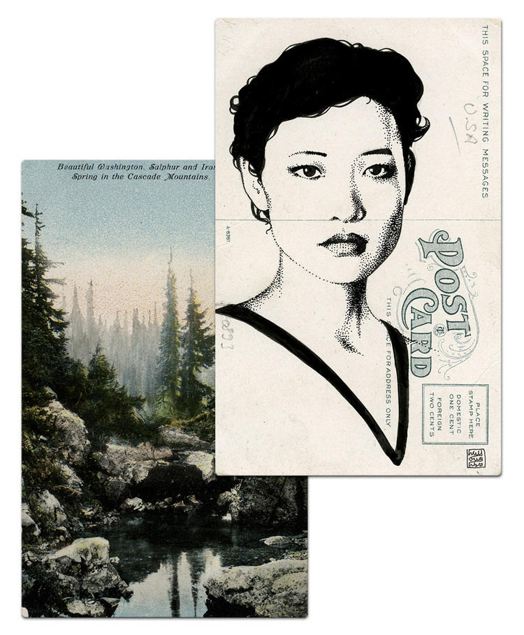 twin peaks post cards oldskull 4