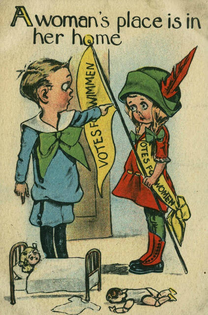 Propaganda Postcards Warn Men about the Dangers of Women's Rights from the Early 20th Century