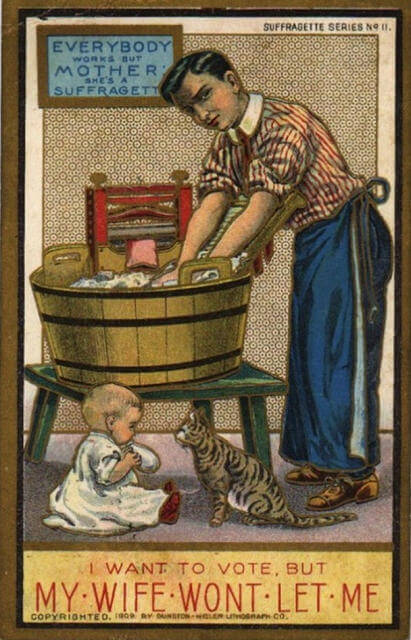 Propaganda Postcards Warn Men about the Dangers of Women's Rights from the Early 20th Century (8)