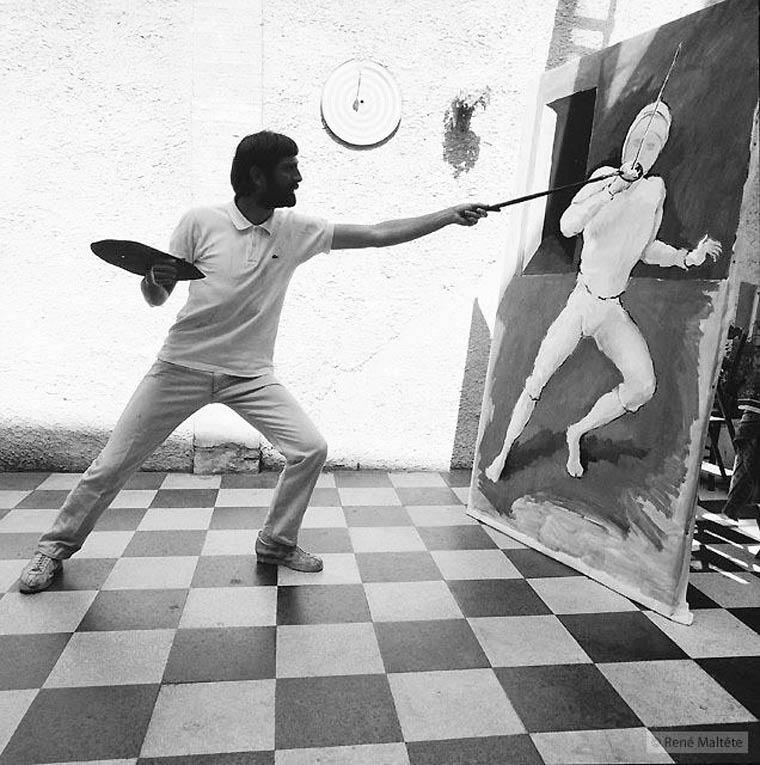 Pintor pintando un cuadro de esgrima por Rene-Maltete