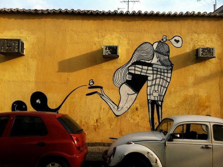 Street art bisous beso de dos chicos