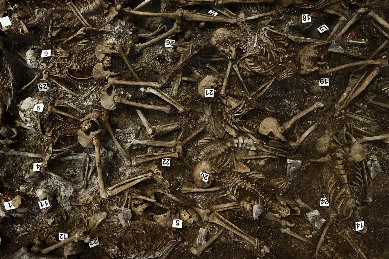 In this July 26, 2014 file picture skeletons are numbered on what it was a hidden mass grave during an excavation by the Aranzadi Sciences Society searching for the remains of those killed by their political ideology during and after the spanish civil war in El Estepar, Spain.(AP Photo/Daniel Ochoa de Olza)