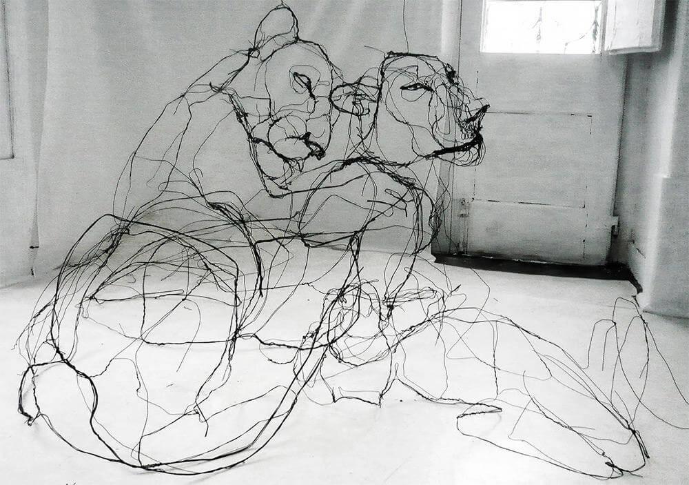 david oliveira sculpture wire oldskull 2