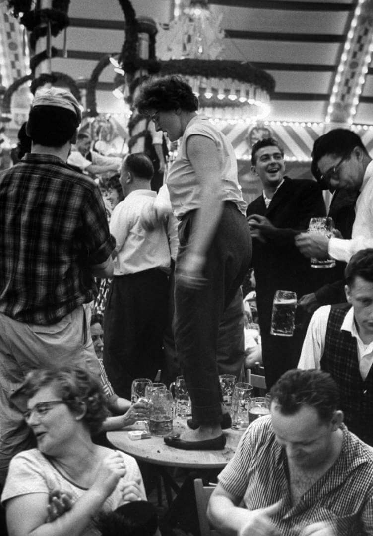 Merrymaking in beerhall during Octoberfest.