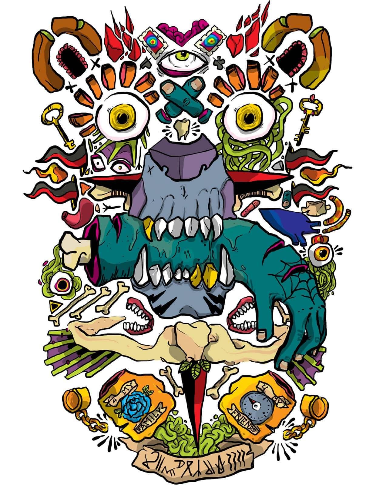 tinte1111 ilustracion oldskull 10