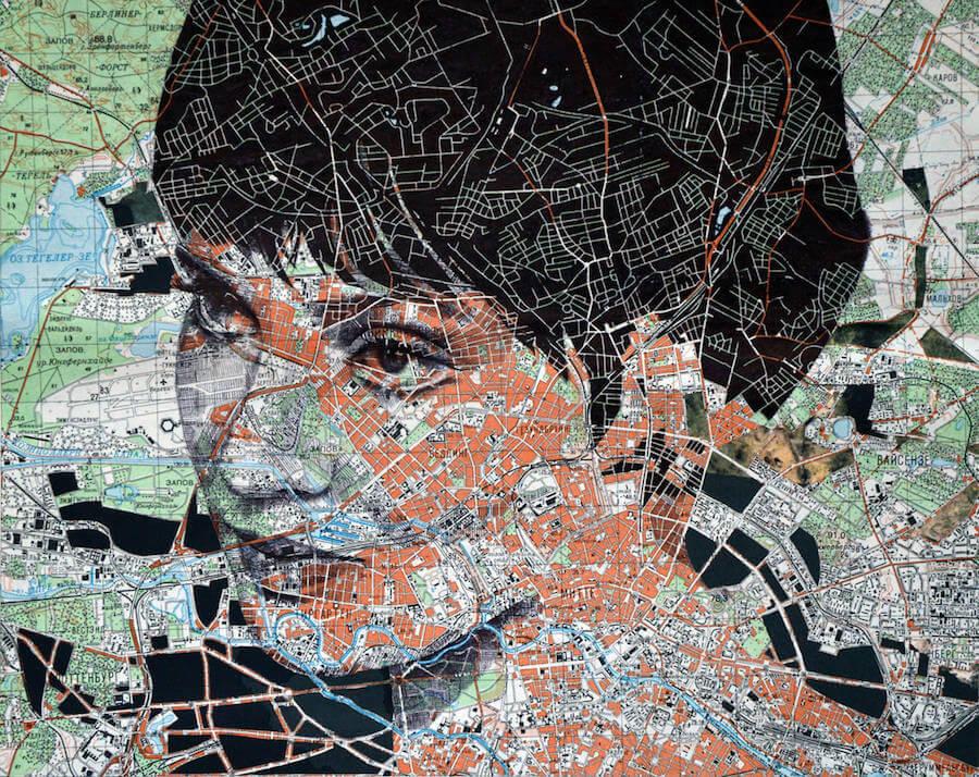 Portraits Drawn on Maps by Ed Fairburn  (1)