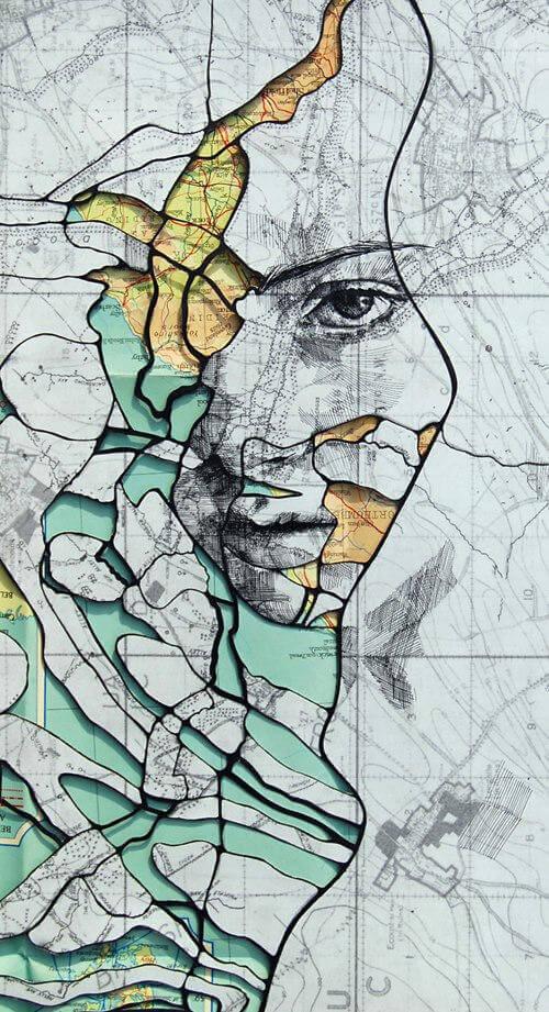 Portraits Drawn on Maps by Ed Fairburn  (4-2)