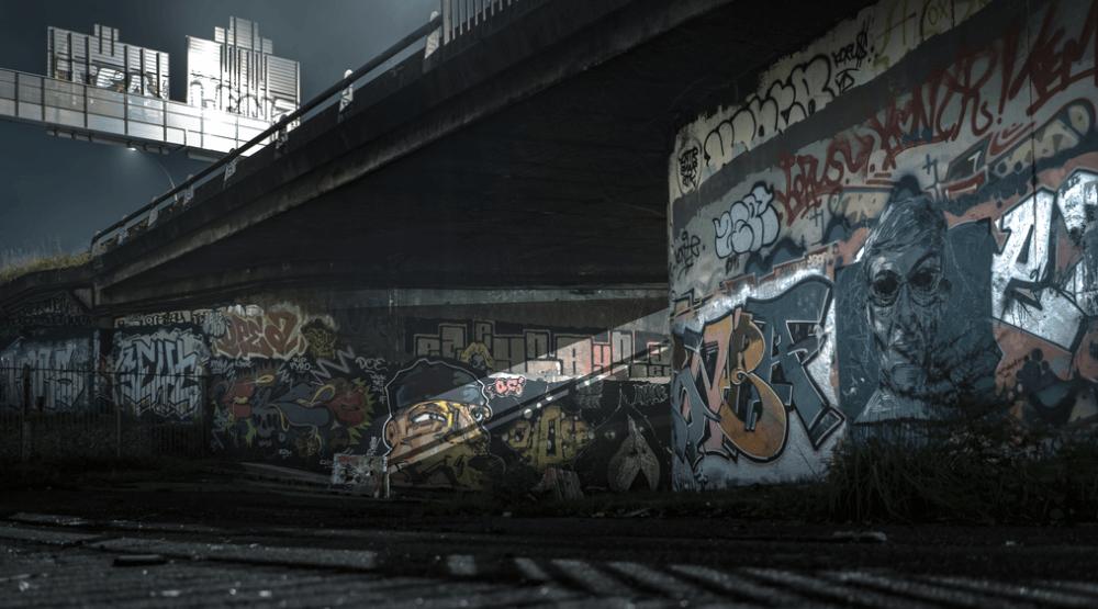 Puente con graffitis en París