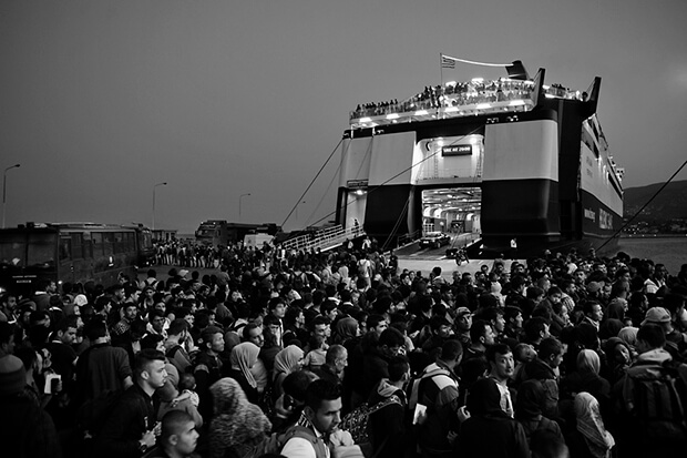 Thousands of refugees gather at the port to enter the ferry to Athens. Afghan and Syrian refugees who successfully entered Europe by the sea from Turkey to Lesvos, Greece, continue their journey. A majority of them is trying to find refuge in Germany.