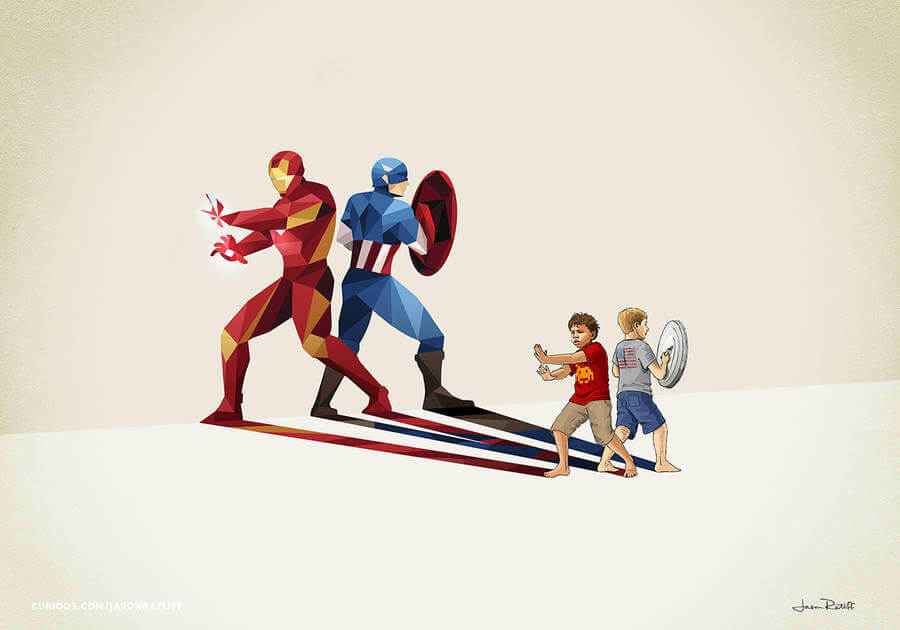 New Children's Superheroes Shadows Posters (5)