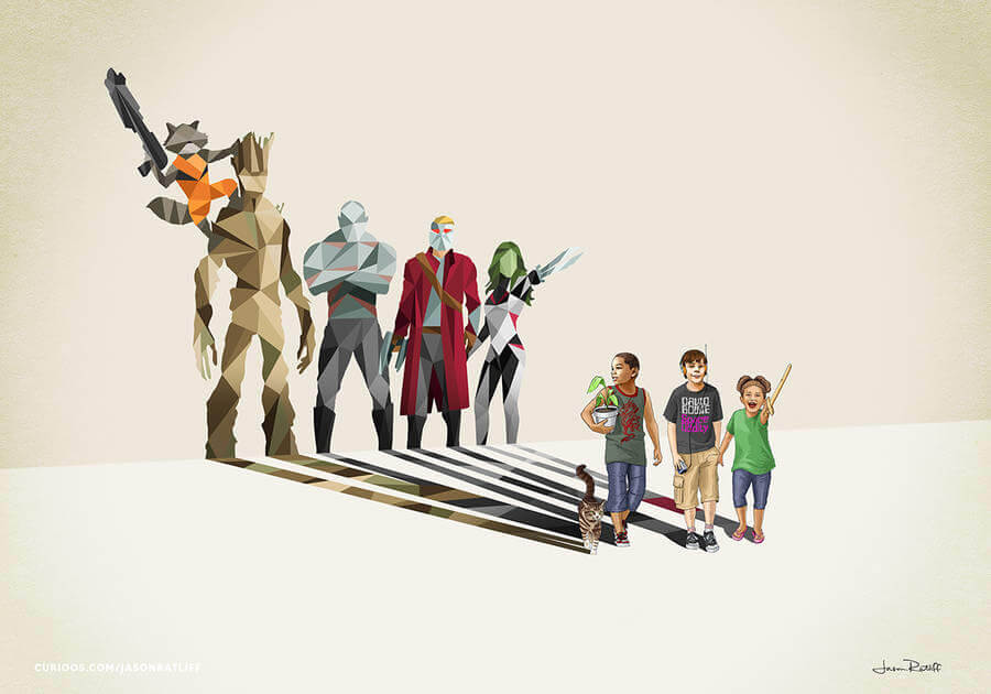 New Children's Superheroes Shadows Posters (6)