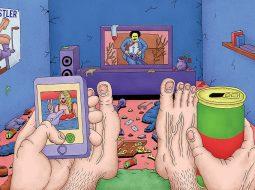 Ilustracion de un hombre viendo la televiosion por alex jenkins